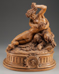 Decorative Arts, French, A FRENCH TERRACOTTA FIGURAL GROUP OF A SATRY AND NYMPH AFTERCLODION, late 19th century. Marks: CLODION. 16-3/4 inchesh...