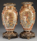 Asian:Japanese, A PAIR OF JAPANESE SATSUMA PORCELAIN VASES WITH GILT METAL MOUNTS,Edo period. 16-3/8 inches high (41.6 cm). ... (Total: 2 Items)