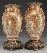 A PAIR OF JAPANESE SATSUMA PORCELAIN VASES WITH GILT METAL MOUNTS, Edo period 16-3/8 inches high (41.6 cm)