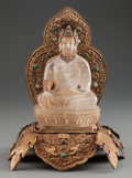 Asian:Chinese, A MOGHUL-STYLE CARVED ROCK CRYSTAL GUANYIN ON A GILT BRONZE ANDHARDSTONE BASE. 10-1/4 inches high (26.0 cm). ...