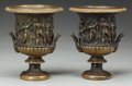 Decorative Arts, French, A PAIR OF SMALL EMPIRE-STYLE BRONZE URNS. 7-3/4 inches high x 6-1/4inches diameter (19.7 x 15.9 cm). ... (Total: 2 Items)