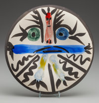 PABLO PICASSO (Spanish, 1881-1973) Personnage No. 28, 1963, Ceramic plate 9-3/4 inches (24.8 cm) dia