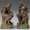 Sculpture, ISIDORE KONTI (Hungarian, 1862-1938). Youth: A Pair of Figural Bookends, 1914. Bronze with green patina. 8-1/2 inches (2... (Total: 2 Items)