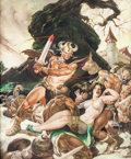 Original Comic Art:Covers, Nestor Redondo Savage Sword of Conan #50 Cover PaintingOriginal Art (Marvel, 1980)....