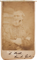 Autographs:Military Figures, Confederate General Leonidas Polk Twice Signed Carte deVisite....