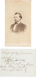 Autographs:Military Figures, [Gettysburg Casualty]. Union General Stephen Weed: Carte de Visite and Endorsement Signed....