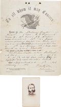 """Autographs:Military Figures, [Gettysburg Casualty]. Union Colonel Patrick """"Paddy"""" O'Rorke Carte de Visite and Document Twice Signed... (Total: 2 Items)"""
