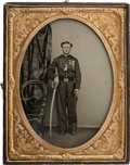 Military & Patriotic:Civil War, Wonderful Civil War Full Plate Ambrotype of a Union Cavalry Officer....