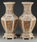 Asian:Chinese, A PAIR OF CHINESE CARVED BONE VENEERED HEXAGONAL VASES ONCONFORMING BASES, 20th century. 24-3/4 inches high (62.9 cm)(incl... (Total: 2 Items)
