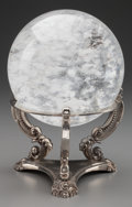 Decorative Arts, French, A LARGE ROCK CRYSTAL SPHERE AND SILVERED BRONZE BASE, 20th century.Marks: GODINGER. 10 inches high (25.4 cm). ...