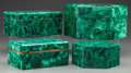 Decorative Arts, Continental:Other , A GROUP OF FOUR RUSSIAN POLISHED MALACHITE BOXES, 20th century. 4 x6-3/4 x 6-7/8 inches (10.2 x 17.1 x 17.5 cm). ... (Total: 4 Items)