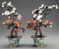 Asian:Chinese, A PAIR OF CHINESE HARDSTONE AND JADE TREES IN CLOISONNÉ BASES, 20thcentury. 17 inches high (43.2 cm). ... (Total: 2 Items)