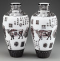 Asian:Chinese, A LARGE PAIR OF CHINESE GLASS OVERLAY VASES, 20th century. 19inches high (48.3 cm). ... (Total: 2 Items)
