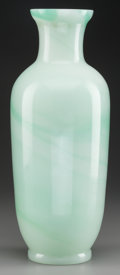 Asian:Chinese, A CHINESE CELADON PEKING GLASS THICK-WALLED VASE. 14-1/4 inches (36.2 cm). ...