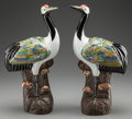 Asian:Chinese, A PAIR OF CHINESE POLYCHROME PORCELAIN STORKS, early 20th century.Marks: (four-character mark). 19-1/4 inches high (48.9 cm...(Total: 2 Items)