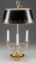 Decorative Arts, French:Lamps & Lighting, A FRENCH GILT METAL THREE-LIGHT BOUILLIOTTE LAMP WITH A TOLE SHADE,early 20th century. 24 inches high (61.0 cm). ... (Total: 2 Items)