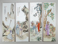 Asian:Chinese, A SET OF FOUR CHINESE POLYCHROME PORCELAIN PLAQUES, early 20th century. 22 inches high x 6-3/4 inches wide (55.9 x 17.1 cm) ... (Total: 4 Items)