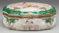 A SEVRES-STYLE PAINTED PORCELAIN BOX WITH GILT BRONZE MOUNTS Marks: (pseudo Sèvres marks) 5 x 12-1/4 x 11-1/4 i...