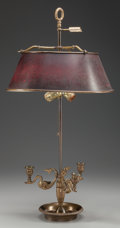 Decorative Arts, French, AN EMPIRE-STYLE GILT METAL TWO-LIGHT BOUILLIOTTE LAMP WITH A TOLESHADE, circa 1900. 27 inches high (68.6 cm). ...