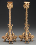 Paintings, A PAIR OF CHARLES X-STYLE GILT BRONZE FIGURAL CANDLESTICKS, 20th century. 12-1/4 x 5 x 5 inches (31.1 x 12.7 x 12.7 cm). ... (Total: 2 Items)