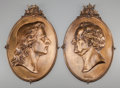 Decorative Arts, Continental, A PAIR OF FRENCH GILT METAL OVAL PORTRAITS: GOETHE &SCHILLER, 20th century. 21-1/2 inches high (54... (Total: 2Items)