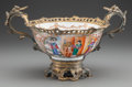 Asian:Chinese, A CHINESE MANDARIN PORCELAIN BOWL WITH GILT BRONZE MOUNTS, late18th century. 8-1/4 x 14 x 10 inches (21.0 x 35.6 x 25.4 cm)...(Total: 2 Items)