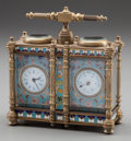 Clocks & Mechanical:Clocks, A SMALL FRENCH CHAMPLEVÉ AND BRONZE DOUBLE-CARRIAGE CLOCK. 5-1/2 x 5 x 2-1/4 inches (14.0 x 12.7 x 5.7 cm). ...