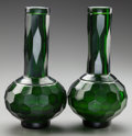 Asian:Chinese, A PAIR OF CHINESE GREEN PEKING GLASS VASES, . 20th century. 8-1/2inches high (21.6 cm). ... (Total: 2 Items)
