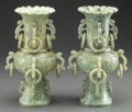 Asian:Chinese, A PAIR OF CHINESE CARVED HARDSTONE VASES, 20th century. 12-1/8inches high (30.8 cm). ... (Total: 2 Items)