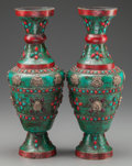 Asian, A PAIR OF MOGHUL-STYLE SILVER, TURQUOISE, CORAL AND HARDSTONEVASES, 20th century. 13-3/4 inches high (34.9 cm). ... (Total: 2Items)