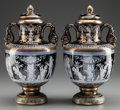 Ceramics & Porcelain, British:Modern  (1900 1949)  , A PAIR OF MINTON-STYLE ENAMELED PORCELAIN COVERED URNS. Marks:(crown), MINTON, (swag). 15 inches high (38.1 cm). ...(Total: 2 Items)