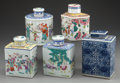 Asian:Chinese, A GROUP OF FIVE CHINESE POLYCHROME PORCELAIN TEA CADDIES, late19th/early 20th century. 7-1/4 inches high (18.4 cm) (blue an...(Total: 5 Items)