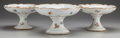 Ceramics & Porcelain, British, THREE ENGLISH PORCELAIN COMPOTES, late 19th century. 5 inches high x 8-1/4 inches diameter (12.7 x 21.0 cm). ... (Total: 3 Items)