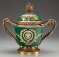 A SEVRES-STYLE PORCELAIN COVERED URN WITH GILT BRONZE MOUNTS, mid 19th century Marks: Mre Imple, de Sèvres&lt...