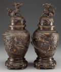 Asian:Japanese, A PAIR OF JAPANESE BRONZE COVERED VASES, early Meiji period. 16-1/4inches high (41.3 cm). ... (Total: 2 Items)