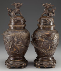 A PAIR OF JAPANESE BRONZE COVERED VASES, early Meiji period 16-1/4 inches high (41.3 cm)