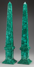 Decorative Arts, Continental, A PAIR OF RUSSIAN MALACHITE OBELISKS, 20th century. 30 inches high(76.2 cm). ... (Total: 2 Items)