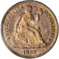 Patterns, 1863 H10C Half Dime, Judd-323, Pollock-388, R.7, PR64 Red and BrownPCGS....