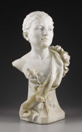 Marble:European, A Female Bust. Jozsef Andrejka, Hungarian. Marble . 24-3/4 incheshigh, 9-1/2 inches deep, 14 inches wide. Signed on the bas...