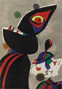 JOAN MIRÓ (Spanish 1893-1983) Gaudi XVII, 1979 Color etching with aquatint on Arches paper 35-1/4