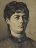 Fine Art - Painting, European:Antique  (Pre 1900), ARTUR LAJOS HALMI (Hungarian 1866-1939). Portrait of aWoman. Charcoal on paper. 19 x 15-1/2 inches (48.3 x 39.4 cm).Si...