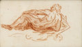 Fine Art - Painting, European, 19th Century French School. Reclining Male Nude. Coloredchalk on paper. 3-1/4 x 5-1/4 inches (8.3 x 13.3 cm). ...