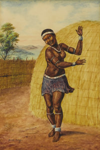 GERARD BHENGU (South African 1910-1990) Dancing Woman Watercolor on paper 11 x 7-1/2 inches sight