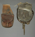 "Western Expansion:Cowboy, PAIR OF J.S. COLLINS & COMPANY CHEYENNE, WYOMING SADDLE BAGS & UNMARKED POMMEL BAGS ca. 1900 - . a) Small (8"" x 7.5"") po... (Total: 2 Items)"