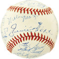 Autographs:Baseballs, 1960's Hall of Famers Signed Baseball with Foxx, Mays. Thetremendous array of talent through whose hands this baseball onc...