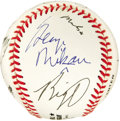 Autographs:Baseballs, 1990's Legends of Sports Multi-Signed Baseball. There's no shortageof star power on this ONL (White) sphere deriving from...