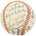 Autographs:Baseballs, Circa 1970 Hall of Famers Multi-Signed Baseball from the Zack WheatEstate. Twenty-eight high-grade signatures here, with o...