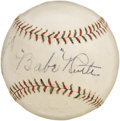 Autographs:Baseballs, Circa 1927 Babe Ruth & Lou Gehrig Signed Baseball. The mostsought after duo in baseball collecting comes to you here in wo...
