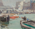 Fine Art - Painting, American:Modern  (1900 1949)  , GEORGE OBERTEUFFER (American, 1878-1940). Along the Seine.Oil on canvasboard. 15 x 18 inches (38.1 x 45.7 cm). Signed l...