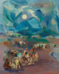 Fine Art - Painting, American:Modern  (1900 1949)  , JON CORBINO (American, 1905-1964). Moonlight on Gane'sBeach. Oil on board. 10-1/2 x 8-1/4 inches (26.7 x 21.0 cm).Sign...